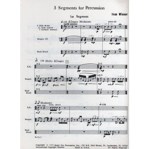 3 Segments For Percussion by Ivan Wiener