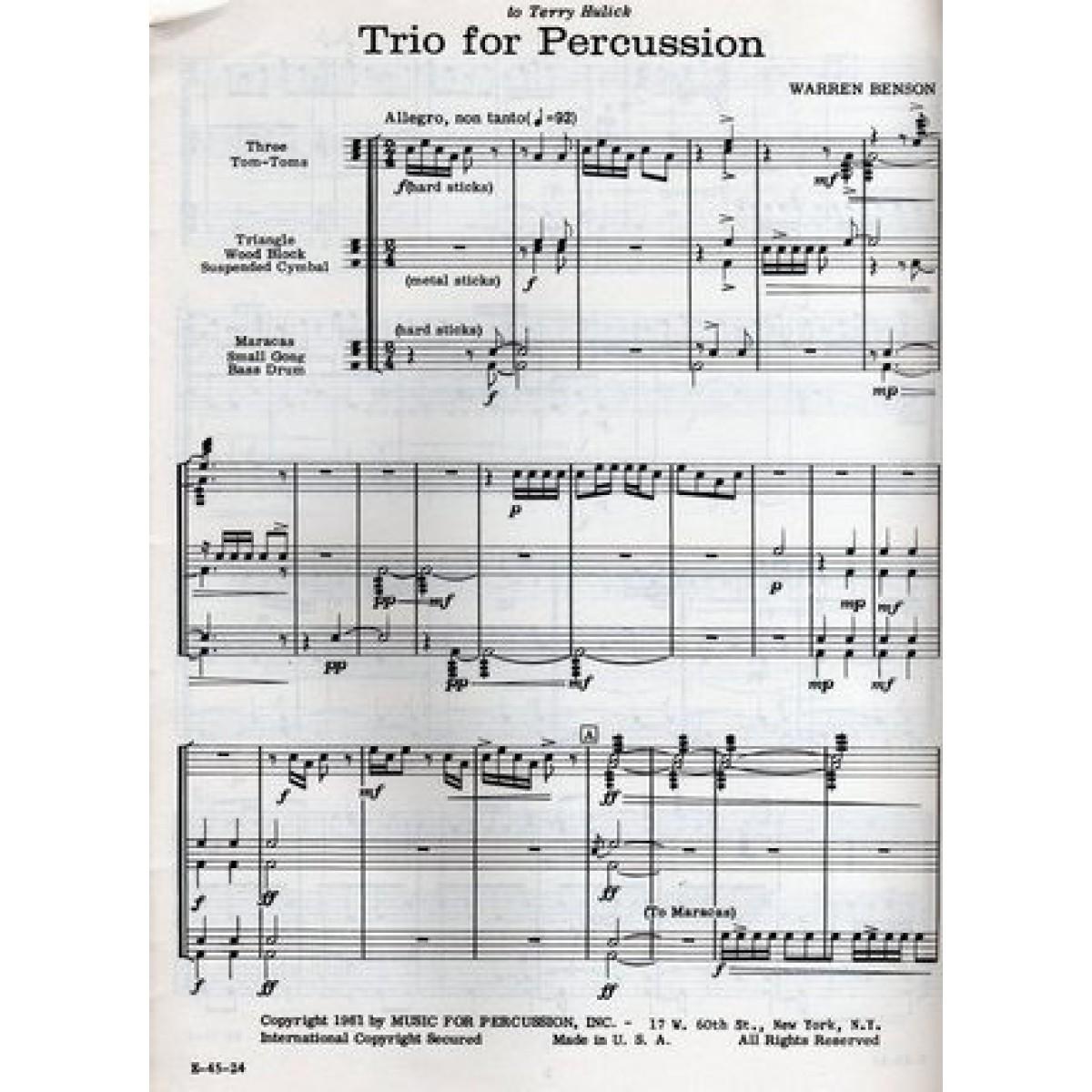 Trio For Percussion by Warren Benson