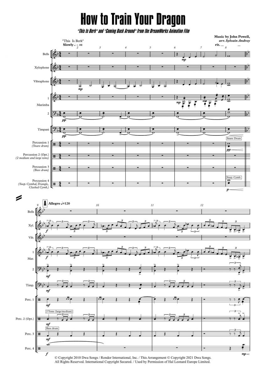 How to Train Your Dragon from the DreamWorks Animation Film arr. Sylvain Andrey