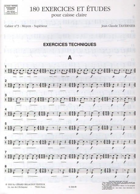 180 Exercises et etudes pout caisse claire